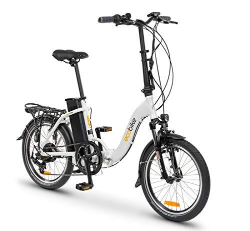 breluxx ecobike - Bicicleta plegable Even White de 20 pulgadas, bicicleta eléctrica Pedelec 36 V (250 W), 13 Ah, 6 velocidades Shimano, color blanco, fabricado en la UE
