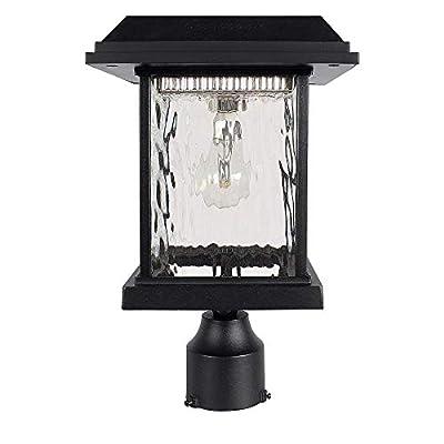 """GAMA SONIC Aspen Solar Post Light, Outdoor Solar Powered LED Light, 3"""" Post Mount, Black GS-8F"""