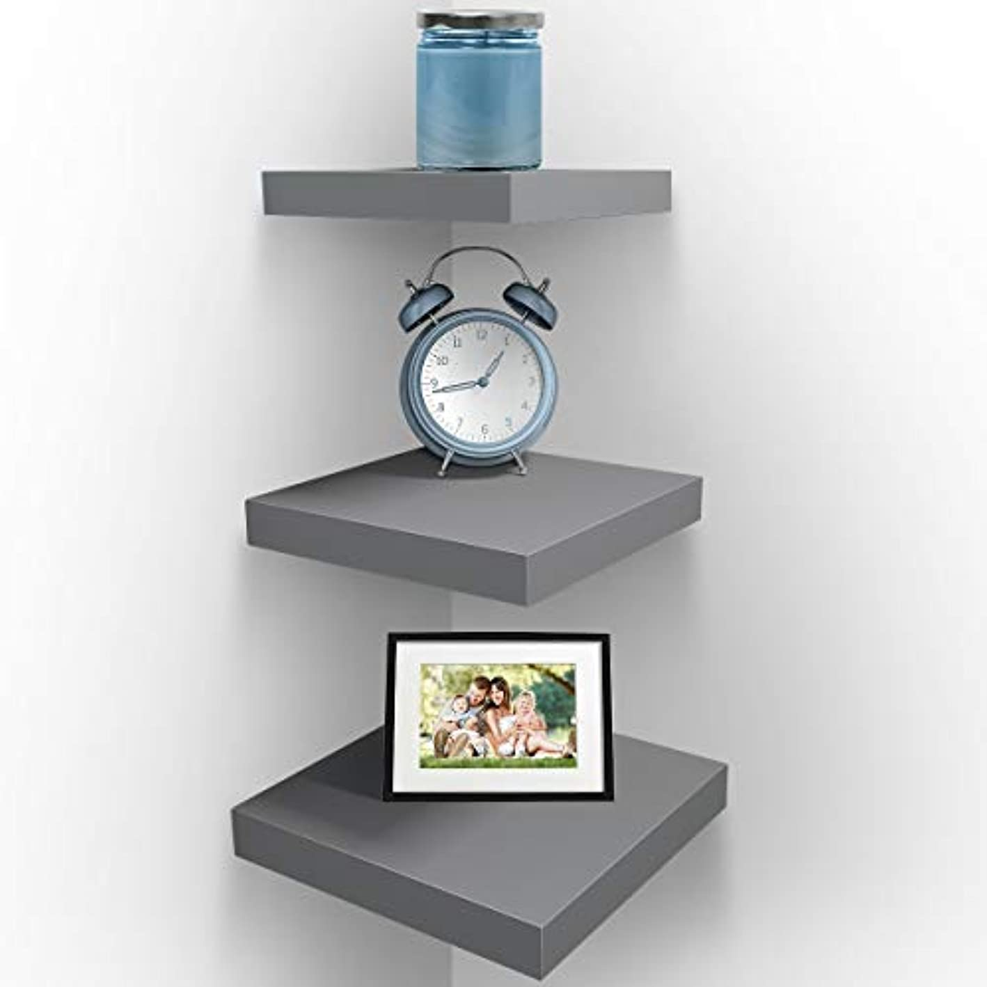 Sorbus Wall Mount Corner Shelves, Square Hanging Wall Shelves Decoration, Perfect Trophy Display, Photo Frames, Home Décor, Set of 3 (Grey)