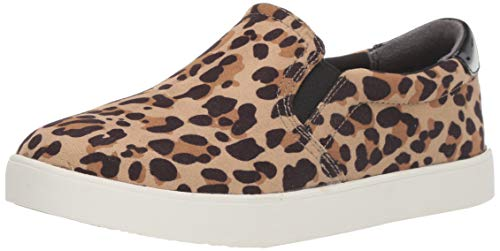 Dr. Scholl's Shoes Women's Leopard Microfiber Sneaker, Tan/Black, 7