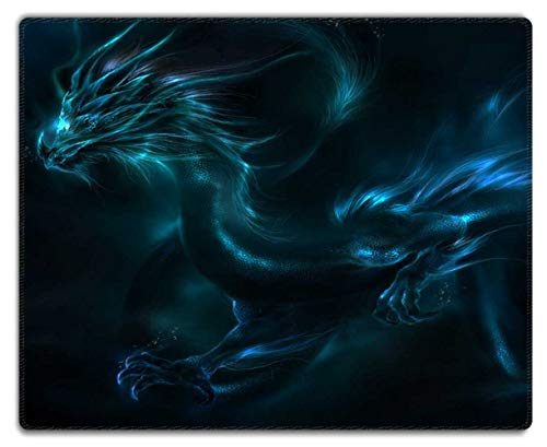 Meffort Inc Mouse Pad with Stitched Edges & Non-Slip Base, Smooth Silk Surface Gaming Mousepad - Blue Dragon Design