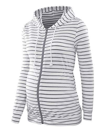 Love2Mi Damen Schwangere Kapuzenpullover Zipper Sweatshirts Jacke Umstandsmode Langarm Hoodie, Weiß Graue Streifen, XL