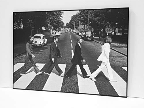 BaikalGallery Beatles Abbey Road Cuadro Enmarcado (P1052)- Moldura Aluminio Mate Negro- Montaje en Panel Adhesivo y Rígido de 1cm (Foam)- Laminado Protector de Acabado Mate (Sin Cristal) (50x70cm)