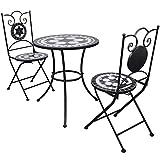 vidaXL Set Mueble Mesa Mosaico 60 cm y 2 sillas jardín Patio Color Negro Blanco