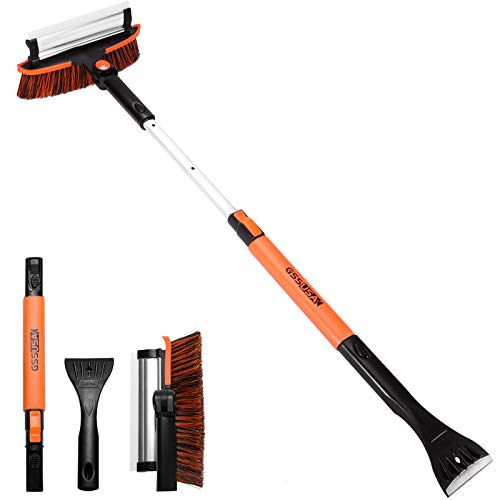 Product Image of the RUN STAR Snow Brush and Ice Scraper Foam Grip, Extendable and Detachable Snow Mover for Car Windshield, Auto Snow Brush Ice Removal with Soft Bristle Brush Head and Durable Aluminum Handle 38''