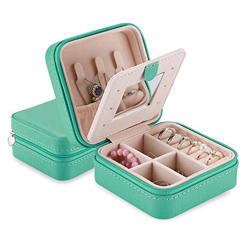 ProCase Small Travel Jewellery Box Organiser, Lovely Gifts for Women Ladies Girls Wife Mum Birthday Anniversary Christmas, Mini Storage Case for Earrings Rings Necklaces Bracelets –Mint Green