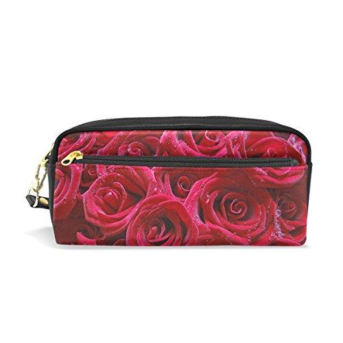 Bennigiry Rose rouge clair Sacs de crayon Stylo Housse étui Porte-monnaie Boîte avec fermeture à glissière pour l'école Student, Petit sac Cosmétique de voyage