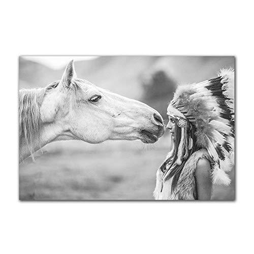 FXBSZ Blanco y negro minimalista niña india y caballo imprimir cuadro lienzo pintura nórdica decorativa cartel de la pared decoración sin marco 70x140 cm Sin marco