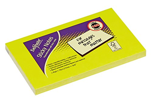 Snopake 127 x 76 mm Neon Assorted Sticky Notes [Pack of 6, 100 Sheets per Pad] 13528