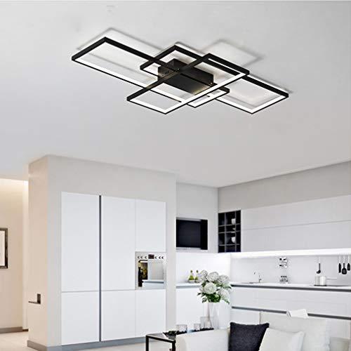 Wohnzimmerlampe LED Deckenleuchte Dimmbar Deckenlampe mit Fernbedienung, 80W Schlafzimmerlampe Modern Decke Aluminium Pendelleuchte Design Lampen Esszimmerlampe Bürolampe Küchelampe (Schwarz, 80×45CM)