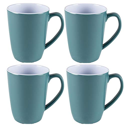 Melamin Tassenset elegante Farben 4 Tassen blau-grün Campinggeschirr Geschirr Personen Picknick Camping Outdoor Party Becher Kaffeebecher Teetasse Trinkbecher 350 ml Camping Outdoor Henkeltasse modern
