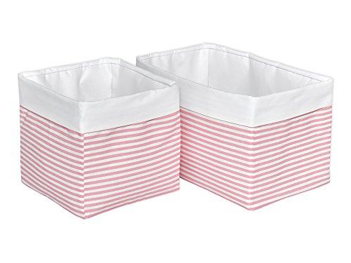 KraftKids Stoff-Körbchen in Uniweiss Streifen rosa, Aufbewahrungskorb für Kinderzimmer, Aufbewahrungsbox fürs Bad, Größe 20 x 33 x 20 cm