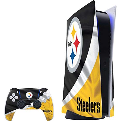 Skinit Decal Gaming Skin Compatible with PS5 Console and Controller - Officially Licensed NFL Pittsburgh Steelers Design