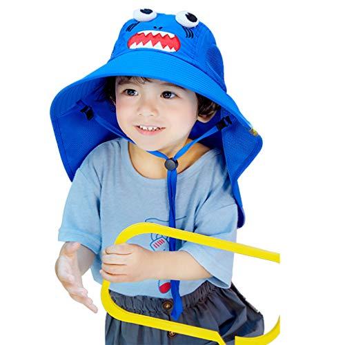 Sombrero de protección solar para niños con solapa para el cuello de dibujos animados Anmal plegable para la playa, regalo para el día de la madre de Pascua