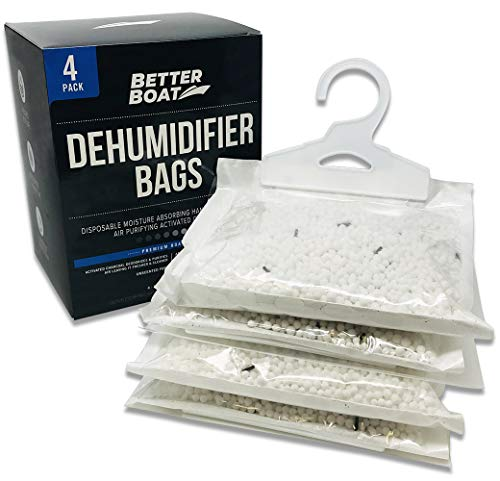 4 Pack Boat Dehumidifier Moisture Absorber Hanging Bags and Charcoal Smell Remove Damp Musty Smell | Basement Closet Home RV or Boating