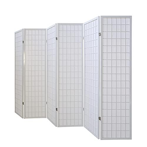 Homestyle4u 263, Paravent Raumteiler 6 teilig, Holz Weiss, Reispapier Weiß, Höhe 175 cm