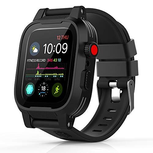 Capa à prova d'água para Apple Watch Série 4, à prova d'água, resistente a impactos, capa protetora robusta com protetor de tela Bulit-in e pulseiras de alça macia premium para Apple Watch Series 4, 44mm Black