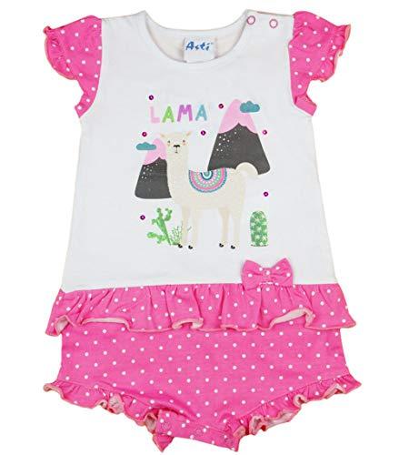 Baby Mädchen Spieler kurz mit Lama Motiv von Disney in Größe 56 62 68 74 80 für 0-6 Monaten,bis 1 Jahr, ideal statt Body oder als Baby-Kleid für Sommer Farbe Modell 1, Größe 56