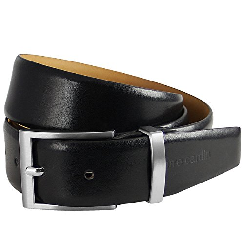 Pierre Cardin Mens leather belt/Mens belt, leather belt curved with metal loop, black, Farbe/Color:noir, Size:100