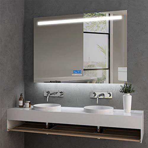 LED Badspiegel mit Beleuchtung 100x60x6cm LED Badezimmerspiegel Wandspiegel mit Bluetooth 4.1 Lautsprecher, Touchschalter und Beschlagfrei IP44 - Kaltweiß