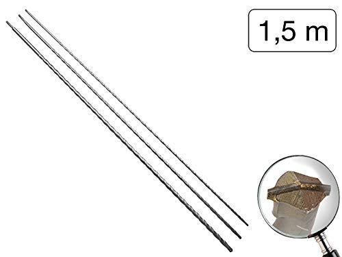 3 teiliges Set SDS-Plus Steinbohrer 1500 mm mit Kupferbeschichteter Hartmetallspitze