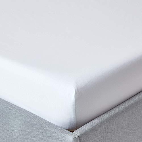 Homescapes Spannbettlaken extra hoch bis zu 40 cm weiss 180 x 200 cm 100% ägyptische Baumwolle Fadendichte 200