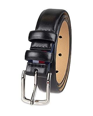 Tommy Hilfiger Boys' Big Dress Stretch Belt, black double Loop, Large (30-32)