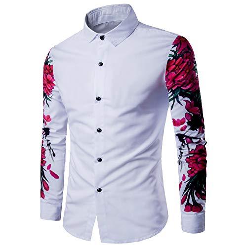 Camisa de Manga Larga para Hombre Camisa de Manga Larga con Estampado Digital de Personalidad Europea y Americana Camisa Delgada de Talla Grande a la Moda L