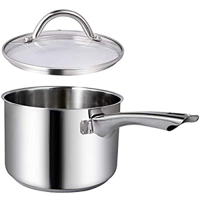 Maggopan Saucepan Stainless Steel Cooking Pots Pans Saucepot Cookware Induction 3.3 Qt 18cm