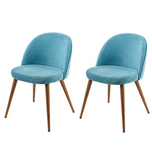 2X Chaise de Salle à Manger HWC-D53, Fauteuil, Style rétro années 50, en Velours - Bleu Turquoise