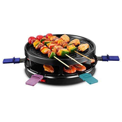 éLectrique Barbecue Gril, BBQ CoréEn Gril De Table avec 6 Mini Plateaux Teppanyaki Plat Chaud sans FuméE Et AntiadhéSif pour IntéRieur RéUnion De Famille Jardin 900w