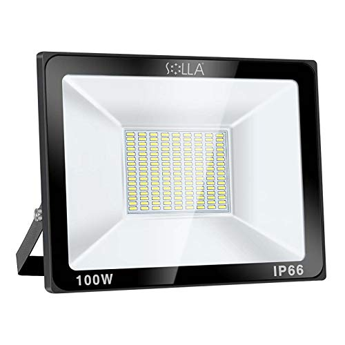SOLLA 100W LED Flutlicht Outdoor-Sicherheitsleuchte, 550W Äquiv, 6000K Tageslichtweiß, 8000LM, Wasserdicht IP66, Außenwandleuchte