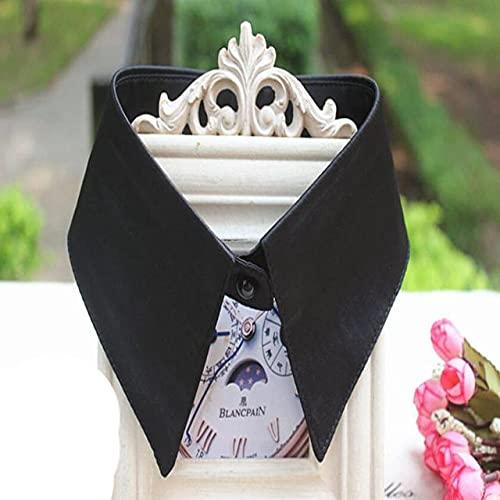 Nieuwe Collectie Dames Vrouwen Volwassen Afneembare Revers Shirt Nep Kraag Mode Effen Kleur Valse Blouse Dassen Kleding Accessoires-zwart
