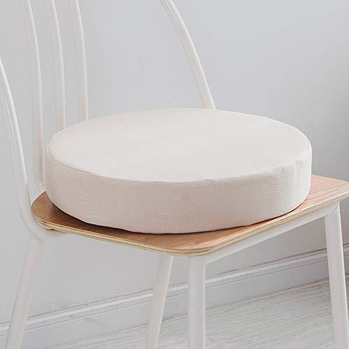 Lesong - Cuscino imbottito per sedia da bistrot rotondo, con rivestimento rimovibile per cucina, giardino, sala da pranzo, patio, interno ed esterno, 50 x 50 cm, colore: bianco