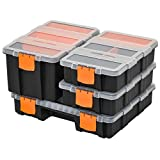 DURHAND Set of 4 Plastic DIY Tool <span class='highlight'>Storage</span> Boxes w/Inside Dividers Locking Lids <span class='highlight'>Home</span> Garage <span class='highlight'>Organisation</span> Stacking Arts Crafts Bolts Black Orange