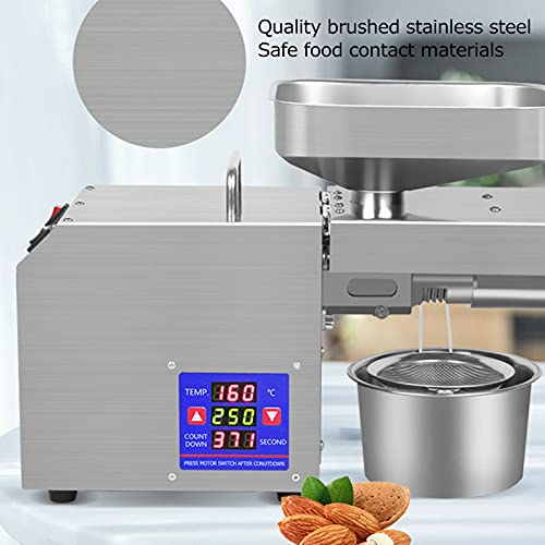 Oil Press Machine, Automatic Stainless Steel Hot Cold Oil Extractor 50‑250℃ Adjustable with Second‑Generation Control System, 750W Oil Presser Pressing Machine for Commercial Household(EU Plug 220V)