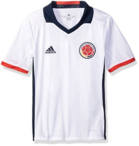 Adidas Soccer Youth Colombia jersey, Large, White/Collegiate Navy