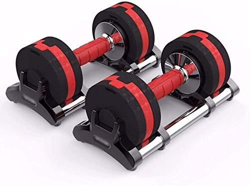 OMING - Mancuernas de ajuste rápido, 15 kg (7,5 kg x 2) para hombres y mujeres desmontables Yaling Home Fitness Equipos Negro y Rojo 15 kg (par)