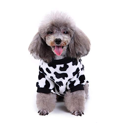 Poseisea Pet Pajamas for Small Medium Dogs, Winter pet Cow Print Pajamas pet Clothes, Keep Warm, Fashionable, A Gift for pet Dog Birthday/Christmas/Holiday/New Year (S)