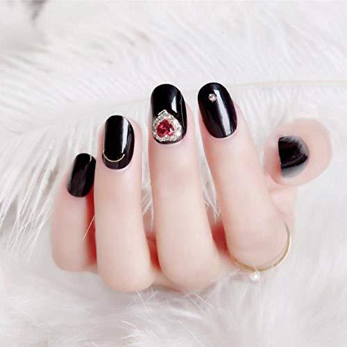 TJJL Faux ongles Dames Party Black Color False Nails Short Round Head Nail Art Tips With Glue Diy Shining Strass Nail Beauty Tools