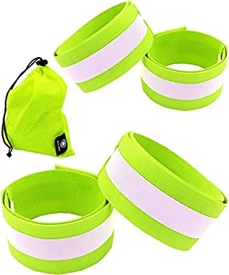 Reflective Bands for Arm, Wrist, Ankle, Leg. Reflector Bands. High Visibility Reflective Running Gear for Women and Men Cycling Walking Bike Safety Tape Straps - Bicycle Pants Clip, Cuff