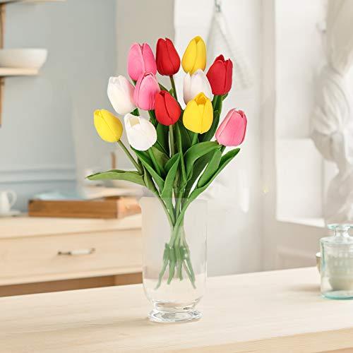 Omldggr 12 Stiele künstliche Tulpen, künstliche Tulpen, Blumenstrauß, künstliche Blumen für Hochzeit, Zuhause, Hotel, Party, Garten, Dekoration (gemischte Farben)
