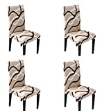 HASTHIP Chair Cover Slipcover Chair Cover Cream Washable Softness for 4 PCs Elastic Installation Chair Protector (Off-White/Line Pattern, 4 PCS)
