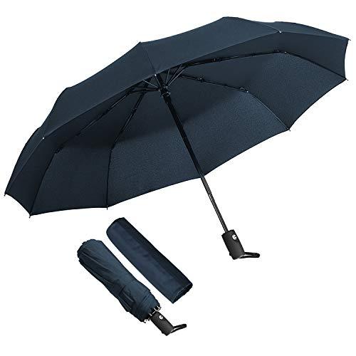 ECHOICE Paraguas Plegable Hombre Automático Antiviento, Paraguas Negro Compacto Resistente al Viento, Paraguas de Viaje (Azul 1)
