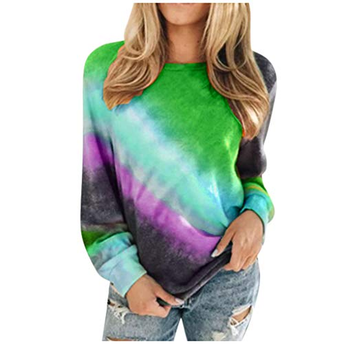 New HunYUN Women Long Sleeve Tops Blouse Autumn Fashion Casual Pullover O-Neck T-Shirt Gradient Colo...