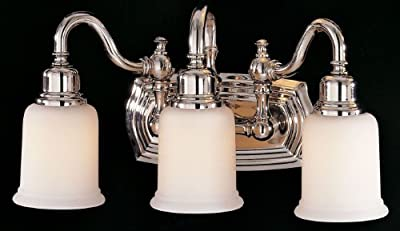 "Feiss VS8003-PN Canterbury Glass Wall Vanity Bath Lighting, Chrome, 3-Light (18.5""W x 9""H) 300watts"