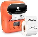 Phomemo M110 Impresora de etiquetas portátil-Impresora térmica de etiquetas,impresora de pegatinas,Adecuado para código de barras, oficina, envío, cable, tienda, ropa,Con etiqueta de 40×30 mm,Naranja