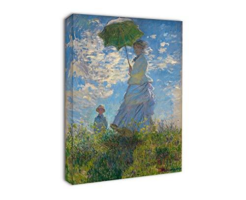 Grafic Quadro Monet Donna con Ombrello - Donna con Ombrello Passeggiata di Claude Monet - Stampa su Tela Canvas con o Senza Telaio (Quadro con Telaio in Legno, CM 40X50)