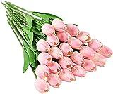 Tifuly 24 Piezas de Tulipanes Artificiales de látex, Ramos de Flores Falsos de Tulipanes realistas para el hogar, Bodas, Fiestas, decoración de oficinas, arreglos Florales (Rosado)