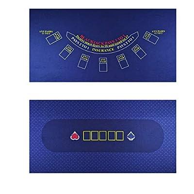 WALIKEN Tabletop Casino Felt for Texas Holdem Poker and Blackjack - Professional Grade Mat (Double Blue)